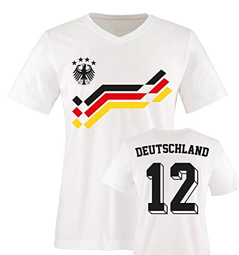 EM 2016 - Retro-Trikot - Deutschland - 12 - Herren V-Neck T-Shirt - Weiss/Schwarz-Rot-Gelb Gr. L
