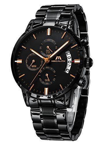 MEGALITH męski, sportowy/wojskowy, analogowy zegarek, chronograf, wodoodporny, stal nierdzewna, zegarek biznesowy, datownik, system kwarcowy, bransoletka Standard, czarny (Black Rosegold)