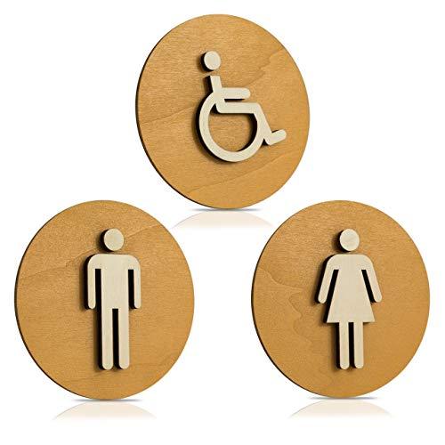 Cartel Madera de WC, Cartel para puerta, Cartel mujer, hombre, discapacitados, color nogal claro, madera, Damen+Herren+Behinderten, Ø 12cm