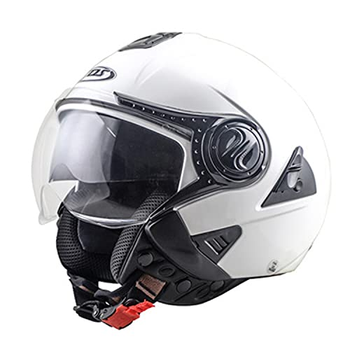 Casco Jet De Moto Con Gafas, Homologado CEE, Casco De Media Cara Con Visera Solar, Chopper, Cruiser, Ciclomotor, Scooter Para Adultos, Hombres Y Mujeres F,XL