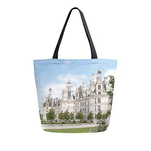 RURUTONG Palace of Versailles Französische Leinen-Einkaufstasche, Großpackung für Lebensmittel, große Schultertasche, Strandtasche, Mehrzweck Heavy Duty Shopping für Outdoor 2010954