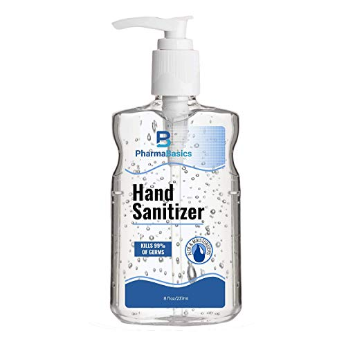 PharmaBasics Unscented Hand Sanitizer Gel 70% Ethyl Alcohol - Portable, Non-drying & Gentle for Frequent Use, Smooth Texture Stays On Hands - Fights Germs & Bacteria - 8 ounces with Aloe (Pack of 3)