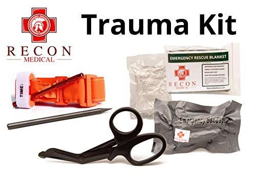 Recon Medical Pack -Includes Recon Medical GEN 3 Orange Tourniquet Kevlar, Titanium Trauma Shears, Trauma Bandage, Compressed Gauze, Emergency Blanket, Carbon Pencil. First Aid-Vacuumed Sealed Bag