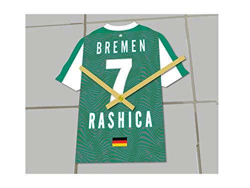 Fußball-Uhr, Bundesliga-Trikot-Uhr– personalisierbar, SV Werder Bremen Bundesliga Football shirt clock