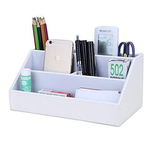 Cupwind ホームオフィス多機能デスクステーショナリーオーガナイザー収納ボックス、ペン/鉛筆、携帯電話、ビジネスネームカード、メモ用紙、リモコンホルダー (ホワイト)