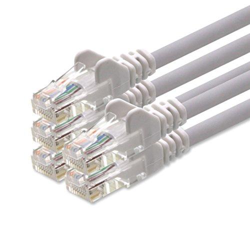 1aTTack CAT5 UTP Netzwerk-Patch-Kabel mit 2X RJ45 Stecker Set Weiss 5 - Stück - 1m
