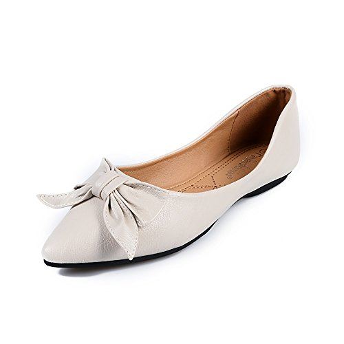 Meeshine Womens Classic Pointy Toe Ballet Flats Slip On Suede Flat Shoes Creamy White US 10