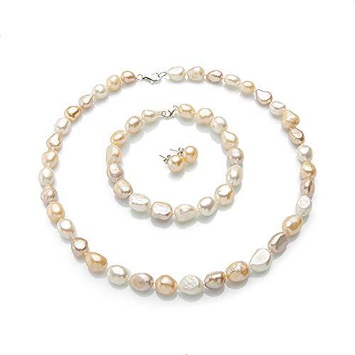 Juego de Joyas Collar Pulsera y Pendientes con Perlas Naturales de Agua Dulce Cultivadas Set Clásico para Mujer Perlas Grandes de 11-12mm