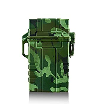 Skywin Waterproof Cigarette Case with Lighter - Airtight Cigarette Dry Box with Rechargeable Lighter - Dry Cigarette Case Protects Cigarettes from Water Great for Outdoor Adventures  Green Camo