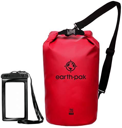 Earth Pak Dry Bag – wasserdichter Packsack mit Schultergurt und wasserfester Handyhülle – ideale Rolltop Tasche beim Kajak Fahren, Wandern, Camping, Angeln, Bootfahren und Rafting (Red, 30L)