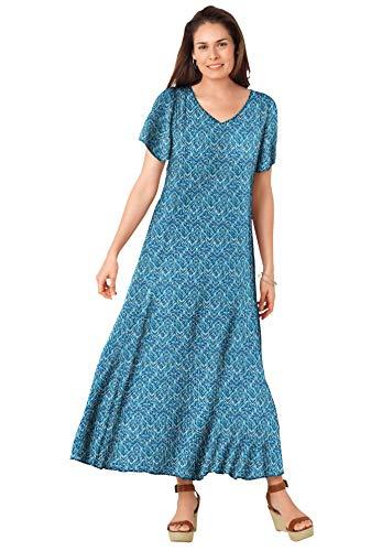 Woman Within Women's Plus Size Crinkle Dress - 4X, Blue Teal Chevron