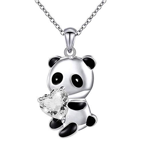 Panda Necklace Cute Animal Bear Hugging Diamante Love Heart Shape Zircon Pendant Charm Chain Necklace Chokers Collar Jewellery Gift for Women Girls