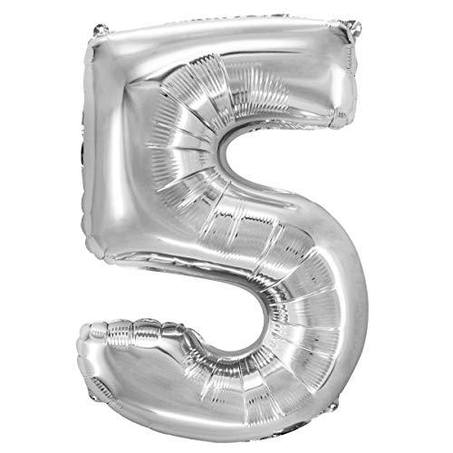 Decor Service Zahl 5 Folienballon, Nylon Folie, Silber, 84 cm