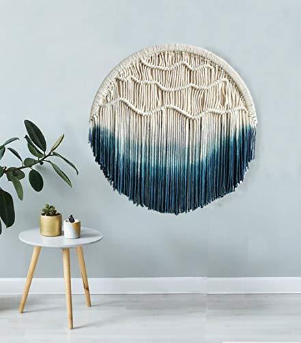 Flber - Tapiz redondo de macramé decorativo y tejido a mano para colgar en la pared, 60 cm de diámetro