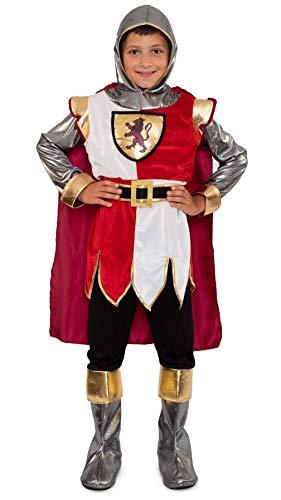 Magicoo Ritterkostüm Kinder Jungen Gr. 104 bis 146 weiß/rot/Gold - König Ritter Mittelalter Kostüm Kind Fasching (116/122)