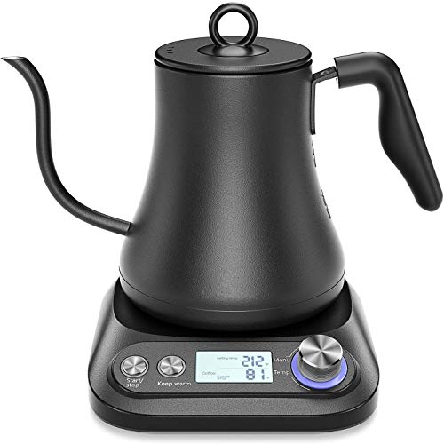 JBK Variable Temperature Control Pour Over Gooseneck Electric Kettle for Specialty Coffee and Tea, Matte Black