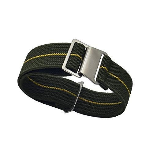 KZFASHIONS Watch Strap, 18mm 20mm 22mm Nylon Elastic Watch Strap Silver Buckle Parachute Watch Band Military Bracelet (20mm, Green yellow)