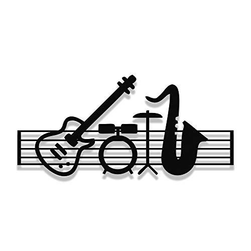 MIGNATIS Marco de música y piano de jazz, diseño de tambor de guitarra de metal, decoración de pared de cocina, oficina, sala de estar, 70 x 32 cm