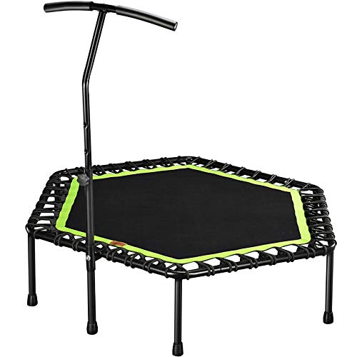 TRF 48' Silent Mini Trampoline, Fitness Rebounder with Adjustable Height Bar - Elastic Rope Non-Slip Mat Quick Installation, Maxload 330 Pounds - for Home