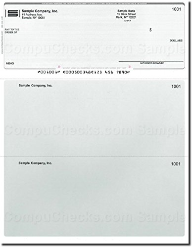 500 Computer Checks on Top - Printed - Compatible for QuickBooks - Steel Blue Pinstripe