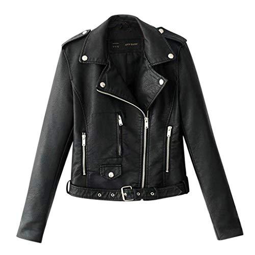 Yowablo Lederjacke Damen Künstlich PU Bikerjacke mit Reißverschluss, Kurze Jacke für Herbst mit Niet (S,Schwarz)