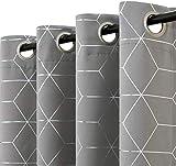 Vangao - Cortinas opacas con impresión plateada con ojales de diamante en la parte superior de 63 pulgadas de longitud, triple capa, cortinas térmicas para recámara de niños, 2 paneles, color...