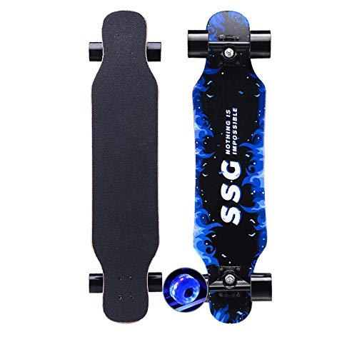 KHSKX Longboard Skateboard 31X8 Zoll Deck Maple Dance Longboard geeignet für Erwachsene Jungen und Mädchen mit Einer maximalen Belastung von 150 kg-Blitz Blaue Flamme