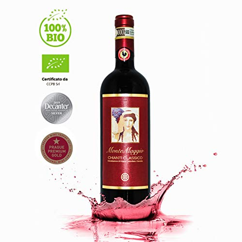 Chianti Classico di Montemaggio Bio-Rotwein - Toskanischer Luxuriöser Edler Bio - Sangiovese/Merlot - Wein aus Italien - Fattoria di Montemaggio - 0.75L - 1 Flaschen