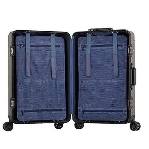 QFSZWX 100% Aluminum-magnesium 20/24/26/29 inch rolling luggage business travel suitcase aluminum spinner trolley bag on wheel (Color : Golden pink, Luggage Size : 24')