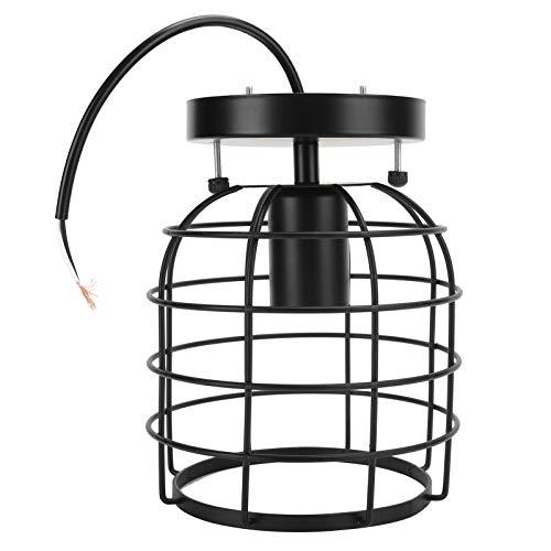 Lámpara colgante industrial vintage de hierro forjado de luz de techo para pasillo, escalera, negro