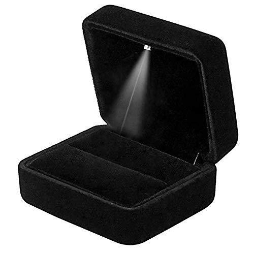 Velvet ring box met LED-licht, ring doos sieraden display geschenkdoos voor huwelijk, verloving, huwelijk (zwart)