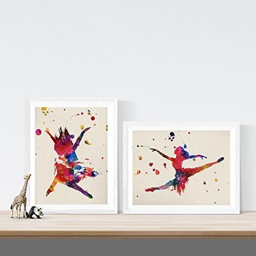 Pack de Dos láminas para enmarcar Bailarinas Estilo Acuarela. Posters con imágenes de Baile en tamaño A4