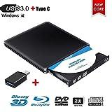 Externes Blu Ray DVD Laufwerk,Externe 3D Blu Ray DVD Brenner,USB 3.0 Tragbare Ultra Slim BD/CD/DVD RW Player Disc für Windows 10/7/8 / Vista/XP/Mac OS Linux
