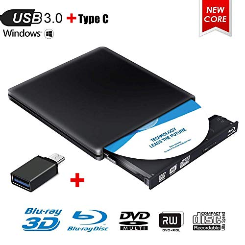 Externes Blu Ray DVD Laufwerk, MingBin Externe 3D Blu Ray DVD Brenner,USB 3.0 Tragbare Ultra Slim BD/CD/DVD RW Player Disc für Windows 10/7/8 / Vista/XP/Mac OS Linux