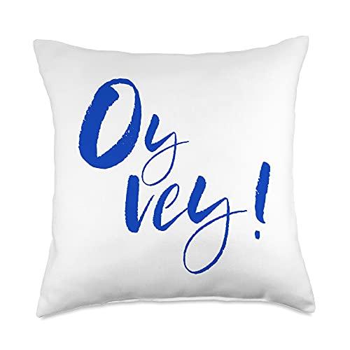 Oy Vey Funny Yiddish Jewish Hanukkah Gifts Yiddish Funny Jewish Oy Vey Throw Pillow, 18x18, Multicolor