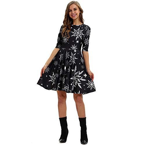 Dress Depot Christmas Dress for Womens Snowflake Print Casual Round Neck and Half Sleeves Santa Midi Party Dresses Black S