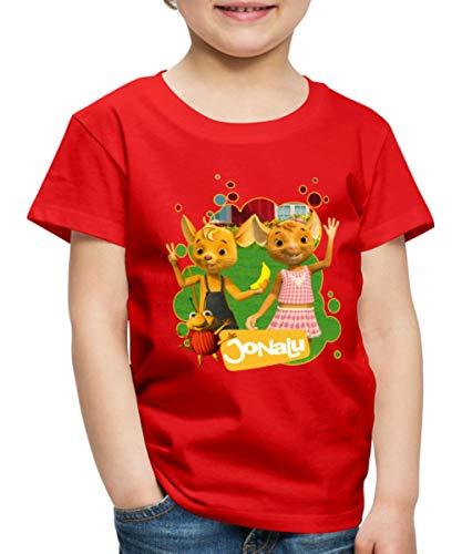JoNaLu Jo Naya Und Lu Winken Fröhlich Kinder Premium T-Shirt, 110-116, Rot