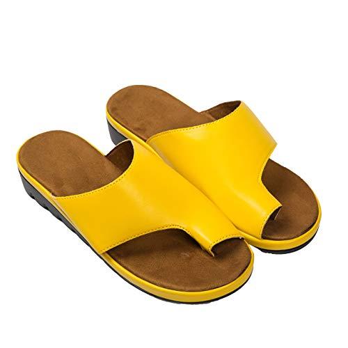 Sandalias de corrección de juanetes para mujer chanclas con plataforma de cuña cómoda punta con clip zapatos planos para caminar en la playa punta abierta zapatillas de tanga informales-Yellow||35