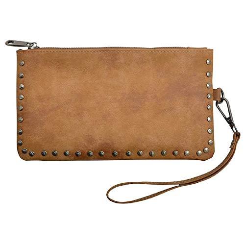 Showman 3D Angel Ranch Tan Distressed Faux Leather Wrist Bag Handbag Wallet Wristlet