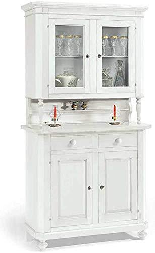 Geschirrschrank Buffet Dorf Solide Kieferfarbe Esszimmer Schrank Base Vertikal Glaskabinett Display Holzkabinett,White
