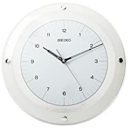 Seiko White & Glass Wall Clock