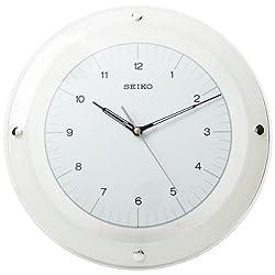 Seiko 13  Quiet Sweep White & Glass Wall Clock