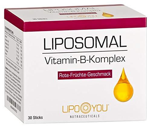 LIPOSOMAL Vitamin-B-Komplex, Flüssig-Sticks mit Vitamin B1, B2, B6, Biotin, Folsäure und Niacin, für Herz, Sehkraft, Haut und Haare, mit Rote-Früchte-Geschmack