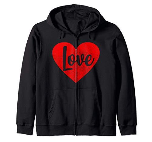Amor corazón lindo regalo de San Valentín para mujer Sudadera con Capucha