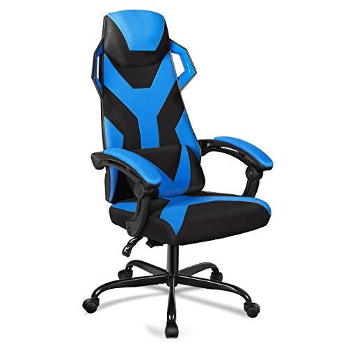 COSTWAY Gaming Stuhl, Massagestuhl mit Rädern, Racingstuhl mit Armlehne, verstellbare Rückenlehne, Kopfstütze und Lendenkissen, großer Computerstuhl mit hoher Rückenlehne (Blau)