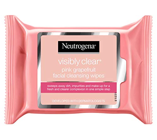 Neutrogena Cleansing Wipes, Oil-free, Acne-prone Skin, Pink Grapefruit, 25 Ct (Pack 2)