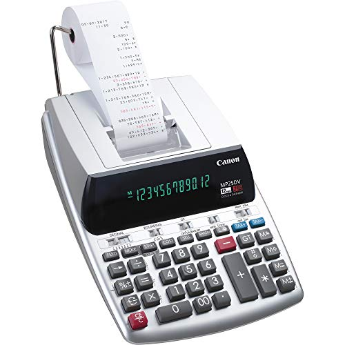 Canon Office Products 2202C001 Canon MP25DV-3 Desktop Printing Calculator with Currency Conversion, Clock & Calendar,BLACK/WHITE/SILVER