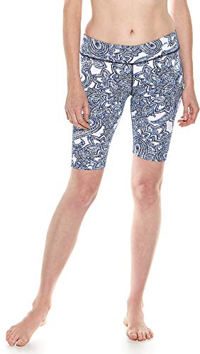 Coolibar UPF 50+ Women's Mid-Rise Deep Water Swim Shorts - Sun Protective (X-Large- Blue Ornate Paisley)