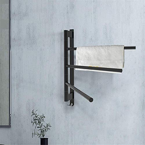 Radiador de riel de toalla con calefacción, estante de toalla y estante de secado 180 & deg;Calentador de toallas giratorio para baño, barras de toallero calientes de acero inoxidable montadas en la