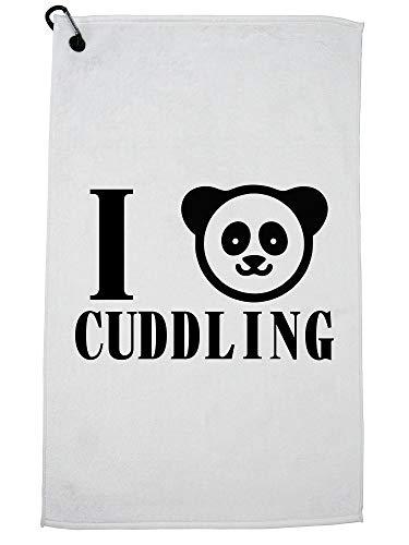 Hollywood-draad ik hou van knuffelen met schattige Panda beer grafische golfhanddoek met karabijnhaak clip